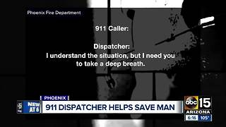 911 dispatcher helps woman save a man's live over the phone - Video