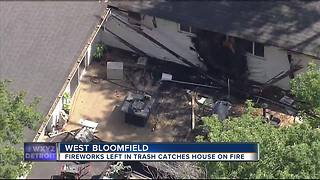 Used fireworks ignite fire at West Bloomfield home causing major damage - Video