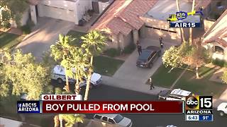 3-year-old boy found in Gilbert pool, transported to hospital - Video