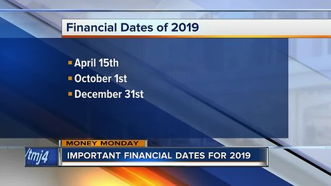 Money Monday: Financial dates for 2019