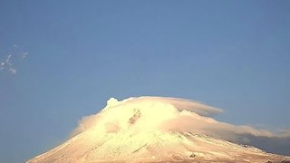 Smoke and Clouds Surround Mexico's Popocatepetl Volcano - Video