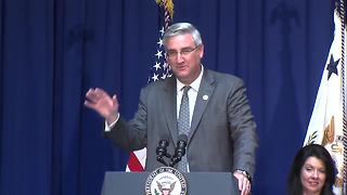 Gov. Eric Holcomb speaks at unveiling of Mike Pence's governor's portrait - Video