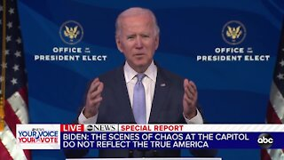 President-elect Joe Biden delivers remarks after protesters storm Capitol