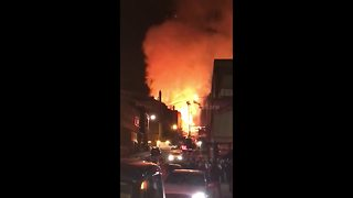 Flames fill the sky during Glasgow School of Art fire
