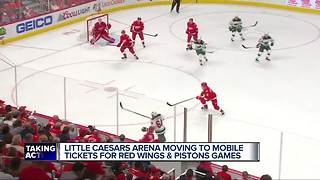Red Wings, Pistons implement mobile ticketing at Little Caesars Arena - Video