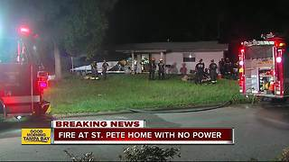 Fire damages St. Petersburg home without power following Hurricane Irma - Video