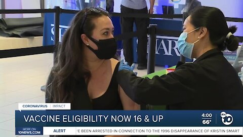 California vaccine eligibility opens to 16 and older