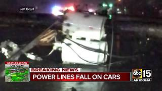 String of power lines fall on cars in north Scottsdale - Video