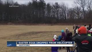 Easter eggs dropped from Helicopter - Video