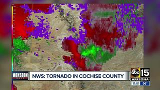 Tornado confirmed Saturday southeast of Tucson in Cochise County - Video