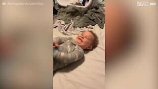 Toddler answers her first phone call