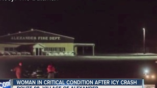 Ice & speed cause serious crash in Alexander - Video