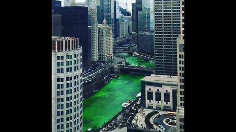 Chicago River dyed green for St. Patrick's Day [VIDEO]