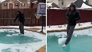 Guy skates on a frozen pool in Texas