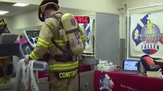 Firefighter Walks On Treadmill For 24 Hours - Video