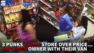 3 Punks Trash Store Over Price…Run Over Owner With Their Van - Video