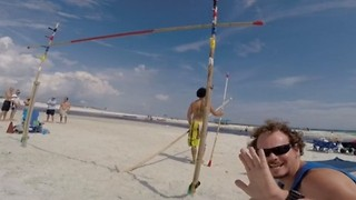 GoPro Captures Man's Insane Beach Pole Vaulting Effort - Video