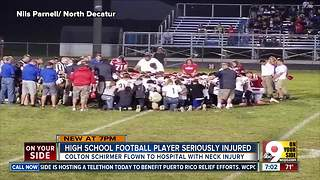 'Freak accident' seriously injures high school football player - Video