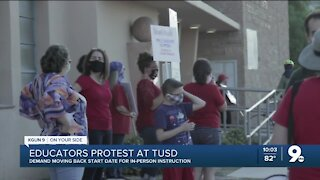 Teachers protest TUSD proposed in-person start date
