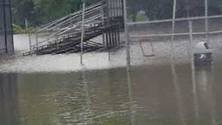 Flooding Nearly Submerges Park in Saukville, Wisconsin