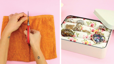 Super easy jewelry box using towels