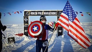 Captain America Runs North Pole Marathon - Video