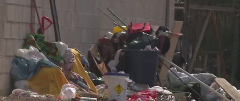 Homeless camp taking over pedestrian bridge in east Las Vegas