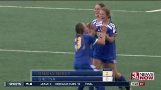Omaha Mercy upsets Gretna at the state tournament - Video
