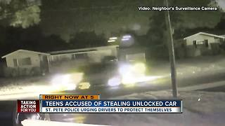 4 teens in stolen van nearly ram officer's patrol car - Video