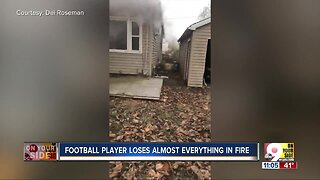 Football player loses almost everything in fire