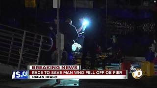 Race to save man who fell off Ocean Beach Pier - Video