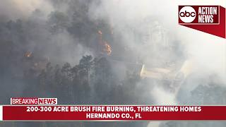 Two homes destroyed by brush fire in Weeki Wachee - Video