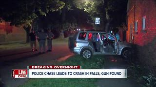 Niagara Falls police chase ends with SUV crash into building - Video