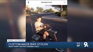 Custom-made bike stolen from Tucson teen with cerebral palsy