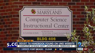 Sexist Computer Science TA handbook found on University of Maryland website - Video