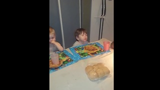 Tired toddler falls asleep in food!