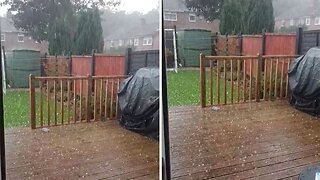 Watch: Moment Huge Hailstones Fall On Garden In Midst Of 37 Degree Temperatures In Other Parts Of The Uk