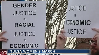 Hundreds turn out for Women's March in Tulsa - Video