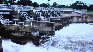 Canal water being released into river - Video