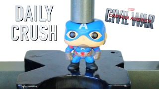 Crushing Captain America vinyl action figure with hydraulic press - Video