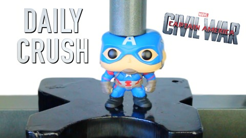 Crushing Captain America vinyl action figure with hydraulic press