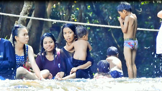 Water Flow Happy To Play On Mountain - Video