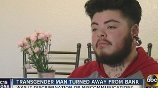 Phoenix transgender man claims Chase Bank discriminated against him when trying to open account - Video