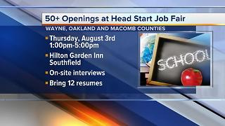 50+ openings at Head Start Job Fair in metro Detroit - Video