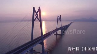 Stunning drone footage shows China's new record-breaking bridge