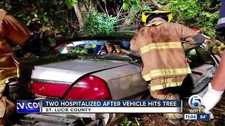 St. Lucie County crash into tree sends 2 to the hospital - Video