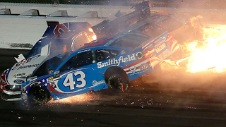 Aric Almirola Barely Survives FIERY NASCAR Crash - Video