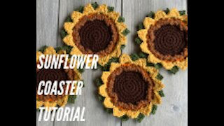 Crochet Sunflower Coaster Tutorial