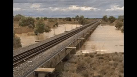 Time-Lapse Footage Shows Floodwater Engulf Stretch of Queensland Railway Line