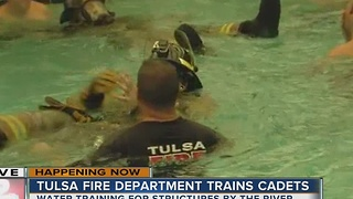 Tulsa Fire Department training cadets for water training - Video